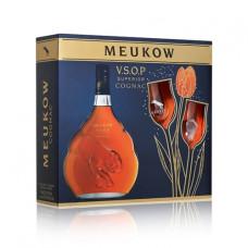 """Konjaks """"Meukow VSOP + 2 tulpju glāzēm"""" 40% 0.7L"""